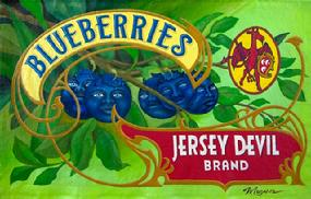 "Molly McGuire ""Jersey Devil Brand Blueberries"" Tinted Recycled House Paint & Oils on Canvas & Grommets, 27"" x 17.5"""