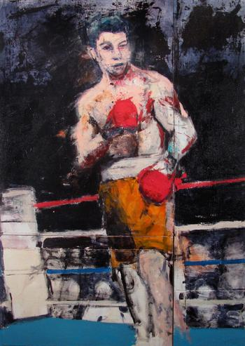 """Come Out Fighting"" Oil & Acrylic on Canvas & Panel, 72"" x 51.5"" SOLD"