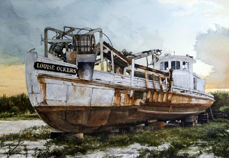 "Samuel Donovan, ""Retired"" Watercolor, 22"" x 30"" SOLD"