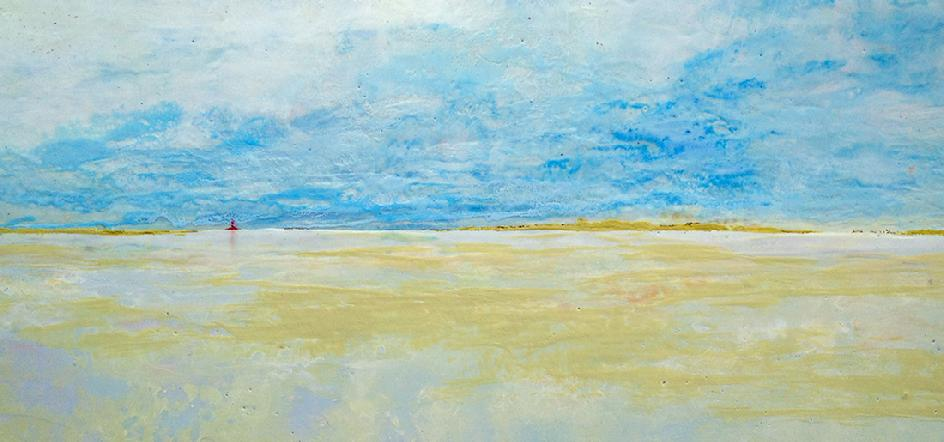 "Jim Inzero ""Windward Point"" Encaustic on Wood Panel, 24"" x 48"" SOLD"